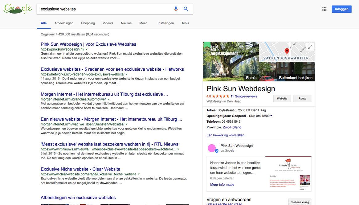bovenaan google