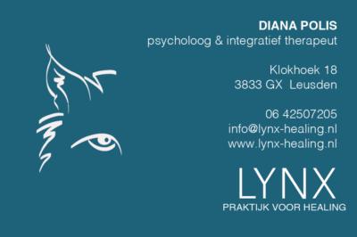 visitekaartje Lynx healing door Pink Sun Webdesign