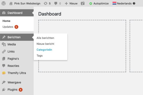 Tutorial categorieën aanmaken in Wordpress | Pink Sun Webdesign | Den Haag