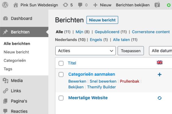 Hoe maak je categorieën aan in Wordpress | Pink Sun Webdesign
